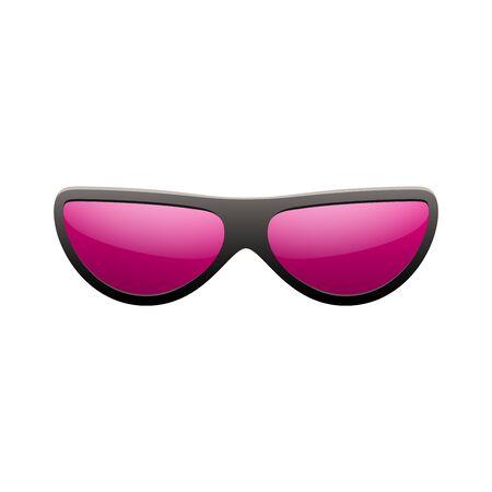 Sunglasses icon. Pink sun glasses isolated white background. Fashion pink vintage graphic style. Female modern optical beach accessory. Eye summer protection. Eyesight symbol Vector illustration