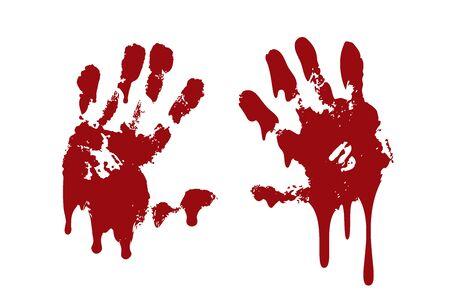 Fondo bianco isolato insieme della stampa della mano sanguinante. Impronta di sangue spaventoso horror, impronta digitale. Palmo rosso, dita, macchie, schizzi, ruscelli. Simbolo horror zombie, omicidio, violenza Illustrazione vettoriale