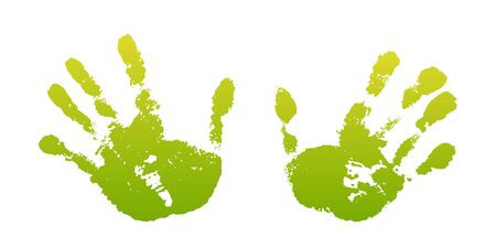Hand paint print set, isolated white background. Green human palm and fingers. Abstract art design, symbol identity people. Silhouette child, kid, people handprint. Grunge texture Vector illustration 向量圖像