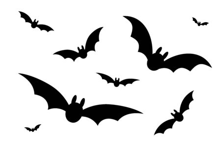 Bats icon set. Bat black silhouette with wings isolated white background. Symbol Halloween holiday, mystery cartoon dark vampire, night flyin element. Spooky scary flat design Vector illustration