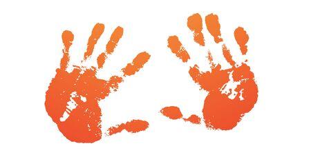 Hand paint print set, isolated white background. Prange human palm, fingers. Abstract art design, symbol identity people. Silhouette child, kid, people handprint. Grunge texture Vector illustration Standard-Bild - 129343762