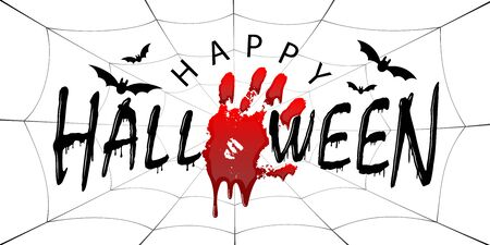 Happy Halloween card. Black scary design isolated white background. Horror silhouette for banner, holiday card. Cartoon sinister dripping flow blood, hand, swarm flying bats, web Vector illustration