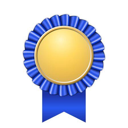 Premio icono de cinta de oro. Diseño de medalla de oro azul aislado sobre fondo blanco. Símbolo de celebración del ganador, mejor logro de campeón, sello de trofeo de éxito. Ilustración de vector de elemento de roseta en blanco