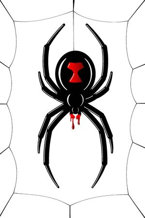 Spider Black Widow, cobweb. Red black spider 3D, spiderweb, isolated white background. Scary Halloween decoration icon web. Symbol networking, animal arachnid, creepy insect fear Vector illustration Ilustração