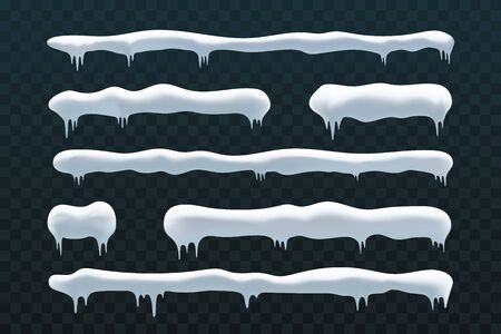 Snow ice icicle set Winter design. White blue snow template. Snowy frame decoration isolated blue transparent background. 3D realistic cap. Christmas, New Year frozen ice texture Vector illustration