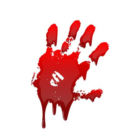 Bloody hand print 3D isolated white background. Horror scary drip blood dirty handprint, fingerprint. Red palm, fingers, stain, splatter, streams. Symbol horror murder, violence Vector illustration Иллюстрация