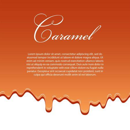 Caramel sauce seamless pattern template, lorem ipsum text. 3d caramel drop liquid isolated white background. Flow syrup border. Sweet design. Realistic melt candy. Drip dessert Vector illustration