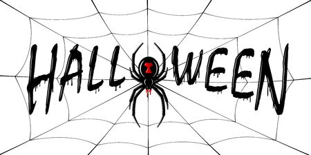 Happy Halloween card. Drip text, spider, web isolated white background. Greeting design banner, Halloween holiday celebration. Horror silhouette spider Black Widow. Flow blood Vector illustration Stock Illustratie