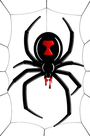 Spider Black Widow, cobweb. Red black spider 3D, spiderweb, isolated white background. Scary Halloween decoration icon web. Symbol networking, animal arachnid, creepy insect fear Vector illustration Illustration