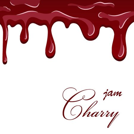 Cherry dripping texture. Cherry liquid melted jam, cartoon design, isolated white background. Sweet flow berry cream, fruit decoration pouring. Drop flow yogurt delicious dessert Vector illustration