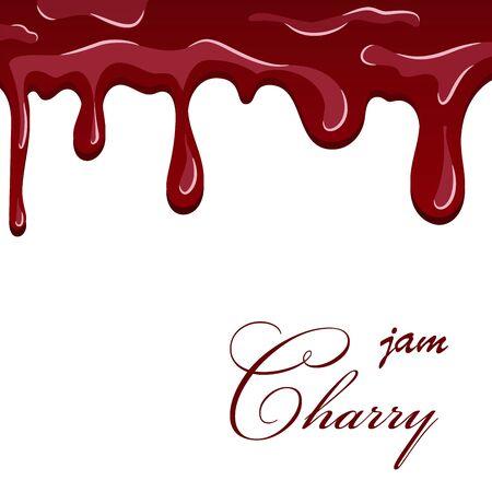 Cherry dripping texture. Cherry liquid melted jam, cartoon design, isolated white background. Sweet flow berry cream, fruit decoration pouring. Drop flow yogurt delicious dessert Vector illustration