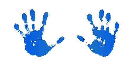 Hand paint print set, isolated white background. Blue human palm and fingers. Abstract art design, symbol identity people. Silhouette child, kid, people handprint. Grunge texture Vector illustration 向量圖像