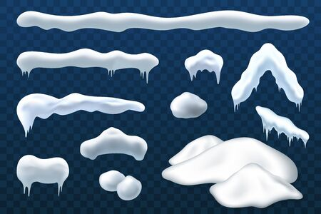 Snow ice set Winter roof cap design. White blue snow ball template. Snowy icicle frame decoration isolated transparent background. 3D realistic. Christmas, New Year frozen texture Vector illustration Ilustrace