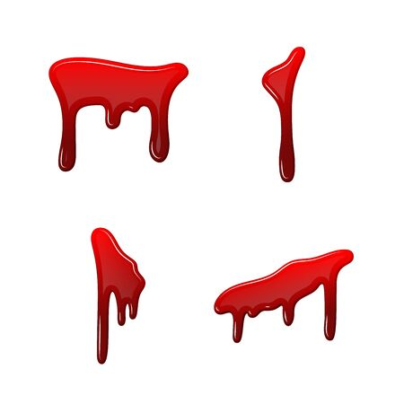 Blood drip 3D set. Drop blood isloated white background. Happy Halloween decoration design. Red splatter stain, splash spot, horror blot. Bleeding bloodstain texture. Liquid paint Vector illustraton