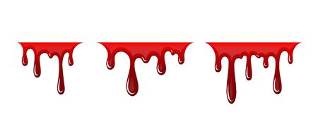 Blood drip 3D set. Drop blood isloated white background. Happy Halloween decoration design. Red splatter stain, splash spot, horror blot. Bleeding bloodstain texture. Liquid paint Vector illustraton Фото со стока - 129344628