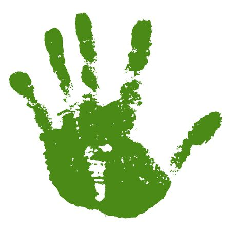 Hand paint print, isolated white background. Green human palm and fingers. Abstract art design, symbol identity people. Silhouette child, kid, people handprint. Grunge texture Vector illustration