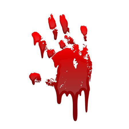 Bloody hand print 3D isolated white background. Horror scary drip blood dirty handprint, fingerprint. Red palm, fingers, stain, splatter, streams. Symbol horror murder, violence Vector illustration Stock Illustratie