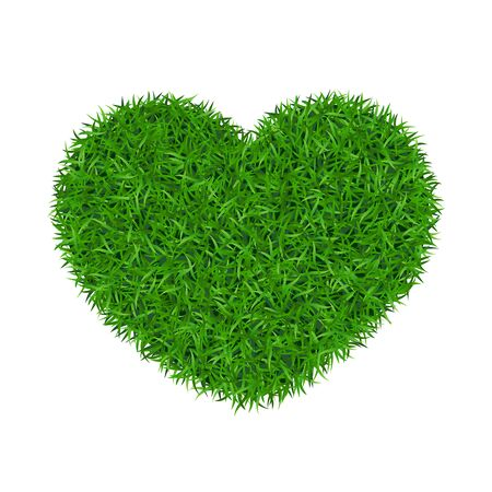 Corazón de hierba verde 3D. Fondo blanco aislado de la tierra del amor de la hierba verde. Jardín ecológico, en forma de corazón. Alfombra de hoja perenne de textura biológica. Concepto de medio ambiente ecológico. Diseño de banner decorativo ilustración vectorial Ilustración de vector