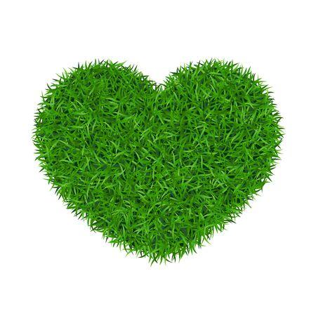 Erba verde del cuore 3D. Fondo bianco isolato terra di amore dell'erba verde. Giardino ecologico, a forma di cuore. Tappeto sempreverde bio texture. Concetto di ambiente ecologico. Banner decorativo design Illustrazione vettoriale Vettoriali