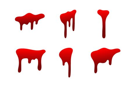 Blood drip set. Drop blood isloated white background. Happy Halloween decoration design. Red splatter stain splash spot, horror blot. Bleeding bloodstain scare texture. Liquid paint Vector illustraton Иллюстрация