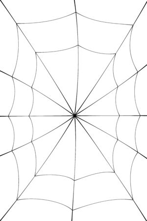 Spider web cartoon. Black cobweb element, isolated white background. Spiderweb silhouette graphic design. Symbol of Halloween, network, trap and danger, scary, arachnid. Tattoo Vector illustration