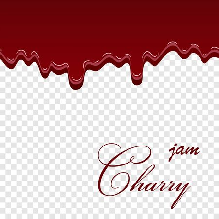 Cherry dripping 3D seamless pattern. Cherry liquid melted texture isolated white transparent background. Sweet jam berry cream, fruit decoration pouring. Drop flow yogurt dessert Vector illustration