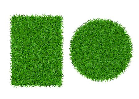 Green grass background 3D set. Lawn greenery nature ball. Abstract soccer field texture circle, rectangle. Ground landscape grassland pattern. Grassy design. Beautiful grow meadow Vector illustration