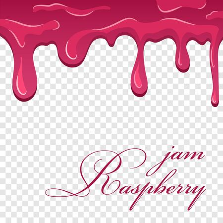 Raspberry jam cartoon. Flowing melting fruit sauce isolated transparent background. Realistic jelly berry confiture. Candy dripping dessert. Drop delicious food. Splash texture Vector illustration