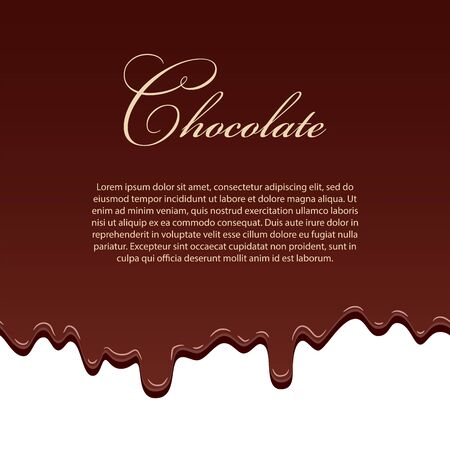 Chocolate seamless pattern template, lorem ipsum text. Drip dark chocolate isolated white background. Sweet melting food. Dripping 3d liquid design. Drop melted candy. Milk choco Vector illustration Stock Illustratie