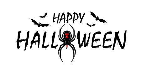 Happy Halloween card. Drip text, spider isolated white background. Greeting design banner, Halloween holiday celebration. Horror silhouette spider Black Widow. Cartoon flow blood Vector illustration