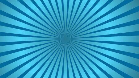Sun rays background. Blue radiate sun beam, burst effect. Sunbeam light flash boom. Template poster sale. Sunlight star, sunrise glow burst. Solar radiance glare, retro design Vector illustration
