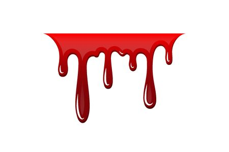 Blood drip 3D. Drop blood isloated white background. Happy Halloween decoration design. Red splatter stain splash spot, horror blot. Bleeding bloodstain scare texture. Liquid paint Vector illustraton Stock Illustratie