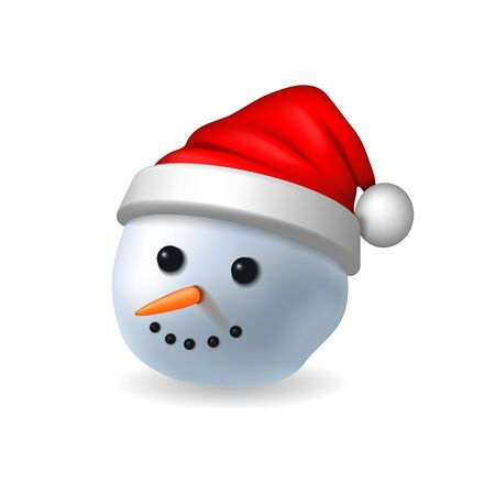 Snowman face 3D. Realistic snowman head isolated white background. Cartoon graphic design. Comic expression costume. Funny face, carrot, coals eyes, pebbles mouth. Smiling face Vector illustration Standard-Bild - 129344710