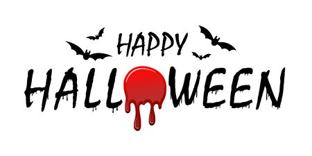 Happy Halloween text, bats. Black scary design isolated white background. Horror silhouette banner, holiday card. Symbol october celebration Halloween. Cartoon dripping flow blood Vector illustration