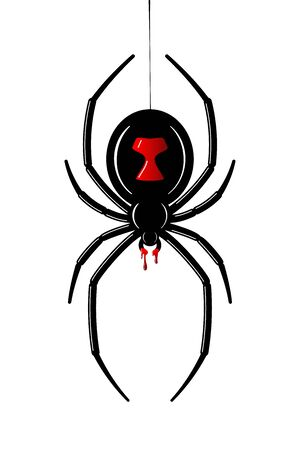 Spider Black Widow. Red black bug spider 3D, isolated white background. Scary Halloween redblack icon, symbol horror, animal arachnid, creepy dangerous insect, arachnophobia fear Vector illustration