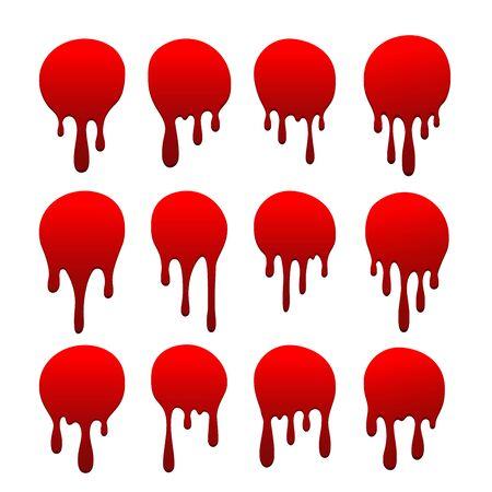 Blood drip set. Drop blood isloated white background. Happy Halloween decoration design. Red splatter stain splash spot, horror blot. Bleeding bloodstain scare texture. Liquid paint Vector illustraton Stock Illustratie