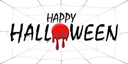 Happy Halloween card. Black scary design isolated on white background. Horror silhouette for banner, holiday card. Cartoon sinister dripping flow blood, web, Halloween celebration Vector illustration Stock Illustratie