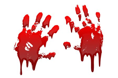 Bloody hand print 3D set isolated white background. Horror scary drip blood dirty handprint, fingerprint. Red palm, fingers, stain, splatter, streams. Symbol horror murder violence Vector illustration Фото со стока - 129344760