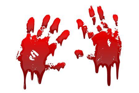 Impresión de la mano sangrienta conjunto 3D aislado fondo blanco. Huella sucia de sangre de goteo de miedo de terror, huella digital. Palma roja, dedos, mancha, salpicadura, arroyos. Símbolo horror asesinato violencia ilustración vectorial Ilustración de vector
