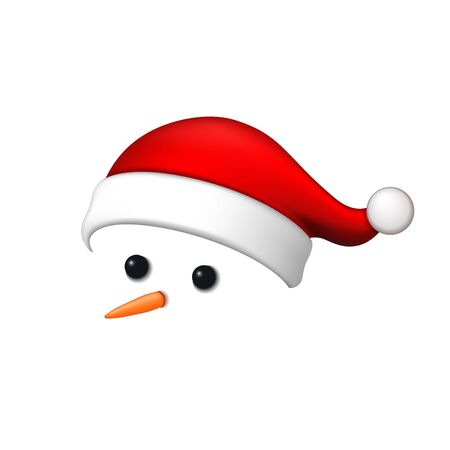 Snowman face 3D. Realistic snowman isolated white background. Cartoon graphic design. Comic expression Santa Claus costume. Funny face, carrot, coals eyes, pebbles. Simple face Vector illustration Standard-Bild - 129344779