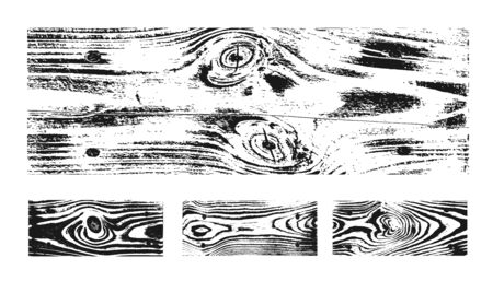 Wood texture white black set. Wooden planks pattern overlay texture. Grunge sketch effect. Crack motif for design wall, floor, rustic, old rough. Stylish retro abstract background Vector illustration