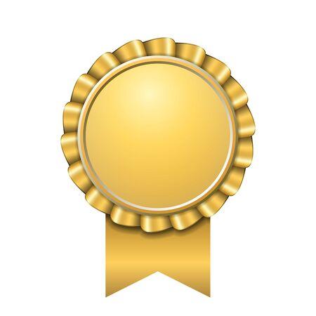 Premio icono de cinta de oro. Diseño de medalla de oro aislado sobre fondo blanco. Símbolo de celebración del ganador, mejor logro de campeón, sello de trofeo de éxito. Ilustración de vector de elemento de roseta en blanco