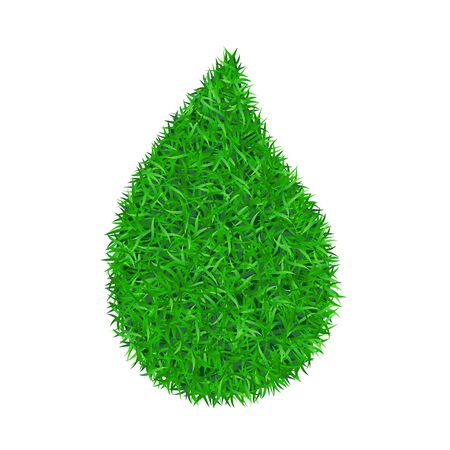 Drop green grass 3D. Green droplet liquid isolated white background. Bright field, nature lawn. Meadow texture. Eco fresh element, ecological environment, ecology summer energy Vector illustration