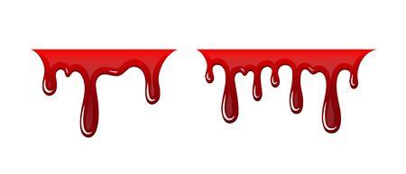 Blood drip 3D set. Drop blood isloated white background. Happy Halloween decoration design. Red splatter stain, splash spot, horror blot. Bleeding bloodstain texture. Liquid paint Vector illustraton