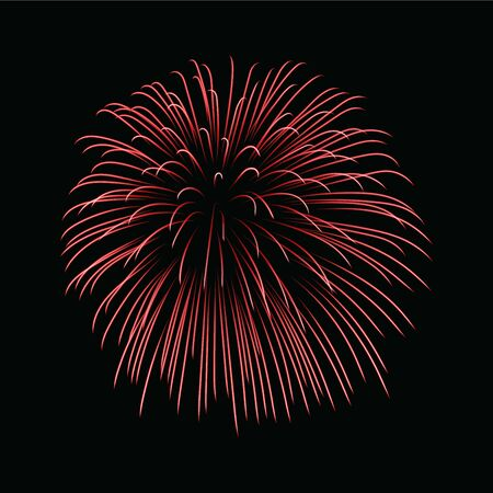 Beautiful red firework. Bright firework isolated on black background. Light red decoration firework for Christmas, New Year celebration, holiday, festival, birthday card Vector illustration