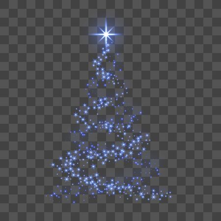 Christmas tree 3d for card. Transparent background. Blue Christmas tree as symbol of Happy New Year, Merry Christmas holiday celebration. Sparkle decoration. Bright star Vector illustration