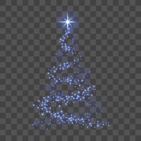Kerstboom 3d voor kaart. Transparante achtergrond. Blauwe kerstboom als symbool van gelukkig nieuwjaar, vrolijk kerstfeest. Sprankelende decoratie. Heldere ster Vectorillustratie