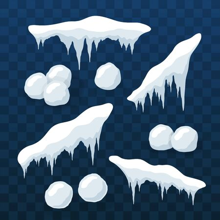 Snow cap ice set. Winter design snowy icicle roof. White blue snow ball template. Frame decoration isolated transparent background. 3D realistic. Christmas New Year frozen texture Vector illustration