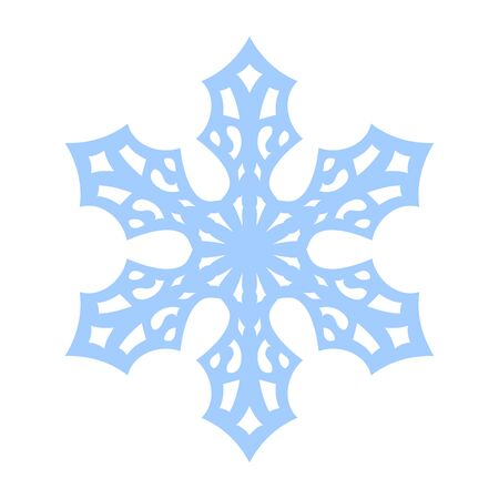 Snowflake sign. Blue Snowflake icon isolated on white background. Snow flake silhouette. Symbol of snow, holiday, cold weather, frost. Winter design element Vector illustration 스톡 콘텐츠 - 129926065