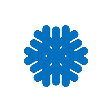 Snowflake sign. Blue Snowflake icon isolated on white background. Snow flake silhouette. Symbol of snow, holiday, cold weather, frost. Winter design element Vector illustration 스톡 콘텐츠 - 129926069